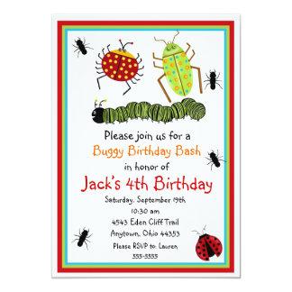 """Invitaciones del cumpleaños de los insectos invitación 5"""" x 7"""""""