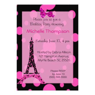 Invitaciones del cumpleaños de París de la torre E