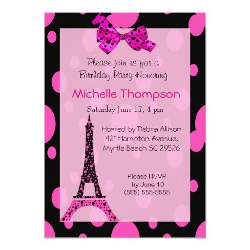 """Invitaciones del cumpleaños de París de la torre Invitación 5"""" X 7"""""""