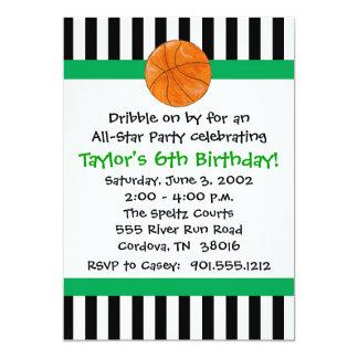 """Invitaciones del cumpleaños del baloncesto invitación 5"""" x 7"""""""