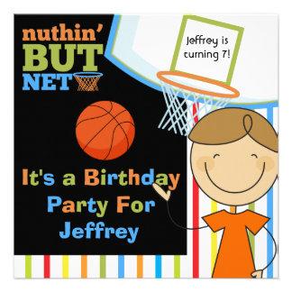 Invitaciones del cumpleaños del baloncesto del muc comunicado personalizado