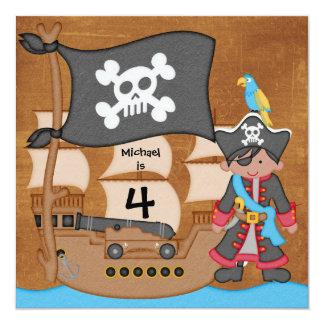 """Invitaciones del cumpleaños del barco pirata del invitación 5.25"""" x 5.25"""""""