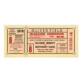 """Invitaciones del cumpleaños del béisbol del boleto invitación 4"""" x 9.25"""""""