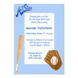 """Invitaciones del cumpleaños del béisbol invitación 5"""" x 7"""""""