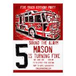 Invitaciones del cumpleaños del bombero del motor  anuncios
