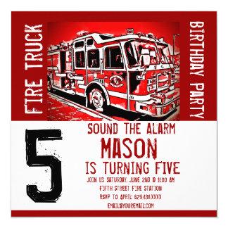 """Invitaciones del cumpleaños del bombero del motor invitación 5.25"""" x 5.25"""""""