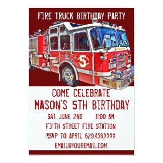"""Invitaciones del cumpleaños del bombero del motor invitación 5"""" x 7"""""""