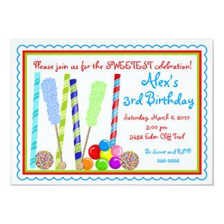 Invitaciones del cumpleaños del caramelo invitación