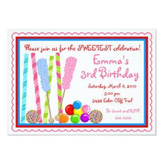 Invitaciones del cumpleaños del caramelo comunicados personalizados