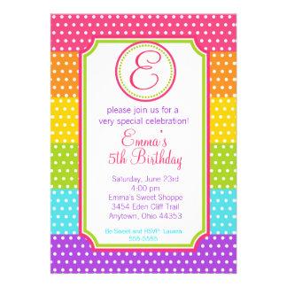 Invitaciones del cumpleaños del caramelo del estal invitacion personal