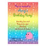 Invitaciones del cumpleaños del cerdo de los coraz comunicado personal