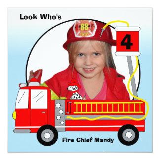 """Invitaciones del cumpleaños del coche de bomberos invitación 5.25"""" x 5.25"""""""