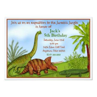 """Invitaciones del cumpleaños del dinosaurio invitación 5"""" x 7"""""""