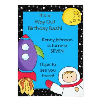 """Invitaciones del cumpleaños del espacio de la invitación 5"""" x 7"""""""