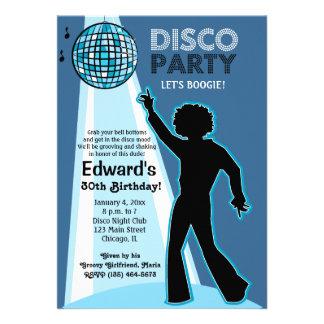 Invitaciones del cumpleaños del fiesta de disco invitaciones personalizada