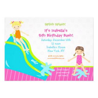 Invitaciones del cumpleaños del fiesta del agua de anuncios