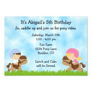 Invitaciones del cumpleaños del fiesta del potro invitación 12,7 x 17,8 cm