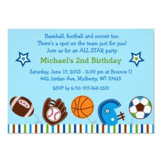 Invitaciones del cumpleaños del fútbol del béisbol invitación 12,7 x 17,8 cm