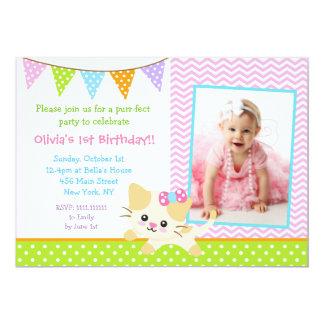 """Invitaciones del cumpleaños del gato del gatito invitación 5"""" x 7"""""""
