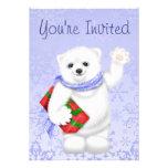 Invitaciones del cumpleaños del invierno del oso p invitación personalizada