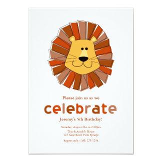 Invitaciones del cumpleaños del león invitación 12,7 x 17,8 cm