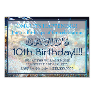"""Invitaciones del cumpleaños del Lionfish Invitación 5"""" X 7"""""""