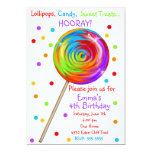 Invitaciones del cumpleaños del Lollipop del Invitación 12,7 X 17,8 Cm