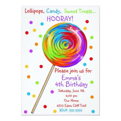 """Invitaciones del cumpleaños del Lollipop del Invitación 5"""" X 7"""""""