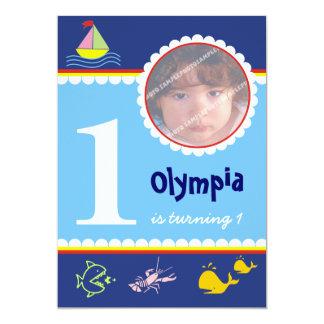 """Invitaciones del cumpleaños del mar del océano invitación 5"""" x 7"""""""