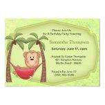 Invitaciones del cumpleaños del mono de la hamaca invitacion personal
