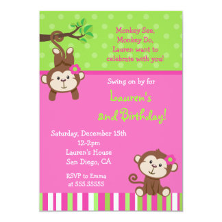 """Invitaciones del cumpleaños del mono de la MOD Invitación 5"""" X 7"""""""