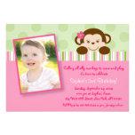 Invitaciones del cumpleaños del mono del chica de  anuncios