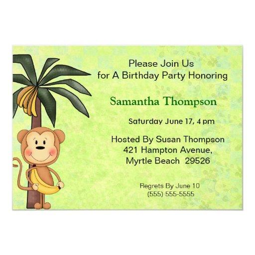 """Invitaciones del cumpleaños del mono invitación 5"""" x 7"""""""