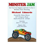 Invitaciones del cumpleaños del monster truck invitación 12,7 x 17,8 cm