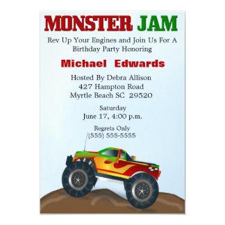 """Invitaciones del cumpleaños del monster truck invitación 5"""" x 7"""""""