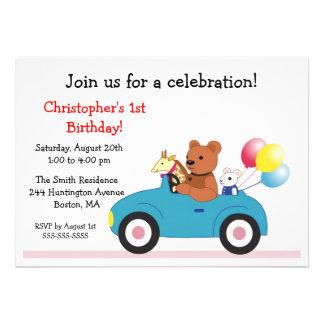 Invitaciones del cumpleaños del niño lindo de los