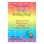 Invitaciones del cumpleaños del pavo real comunicado