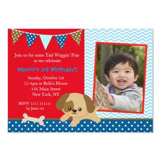 """Invitaciones del cumpleaños del perro de perrito invitación 5"""" x 7"""""""