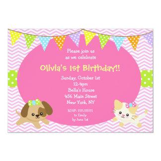 """Invitaciones del cumpleaños del perro del gato del invitación 5"""" x 7"""""""