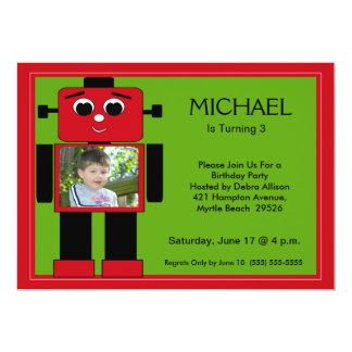 """Invitaciones del cumpleaños del robot invitación 5"""" x 7"""""""
