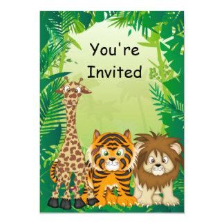 Invitaciones del cumpleaños del tema de la selva invitación 12,7 x 17,8 cm