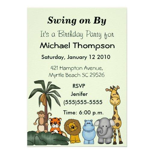 Invitaciones del cumpleaños del tema de la selva