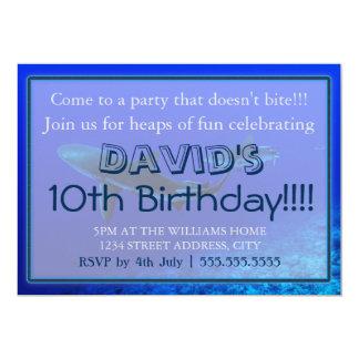 """Invitaciones del cumpleaños del tiburón del filón invitación 5"""" x 7"""""""