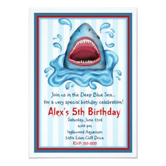 """Invitaciones del cumpleaños del tiburón invitación 4.5"""" x 6.25"""""""