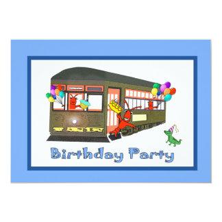 Invitaciones del cumpleaños del tranvía de New Invitación 12,7 X 17,8 Cm