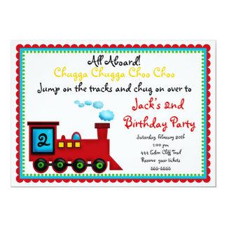 Invitaciones del cumpleaños del tren invitación 12,7 x 17,8 cm