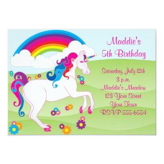 Invitaciones del cumpleaños del unicornio del arco invitación 12,7 x 17,8 cm