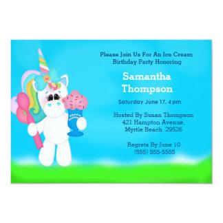 """Invitaciones del cumpleaños del unicornio invitación 5"""" x 7"""""""