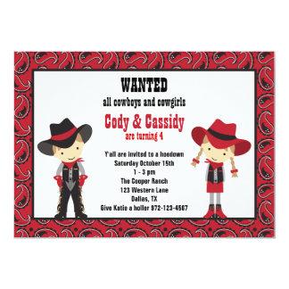 """Invitaciones del cumpleaños del vaquero y de la invitación 5"""" x 7"""""""