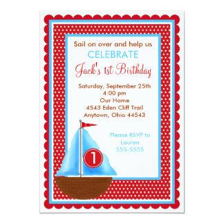 Invitaciones del cumpleaños del velero invitación 12,7 x 17,8 cm